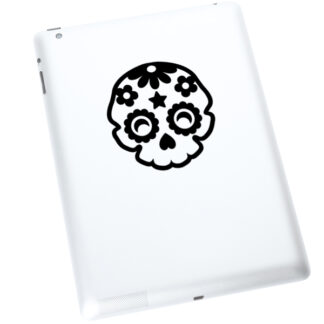 986 Seward Street Studios sugar skull decal shown on a white tablet