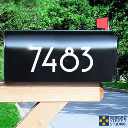 1229 Seward Street Studios Reflective Address Numbers, shown in white vinyl, on a black mailbox