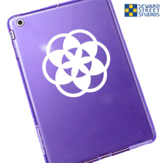 1167 Flower of Life Vinyl Decal by Seward Street Studios shown in white vinyl on a purple tablet