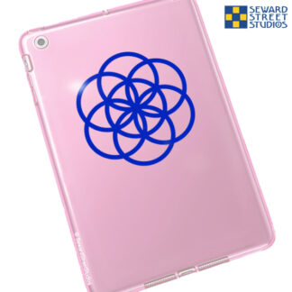 1165 Seed of Life Vinyl Decal by Seward Street Studios shown in blue vinyl on a pink tablet