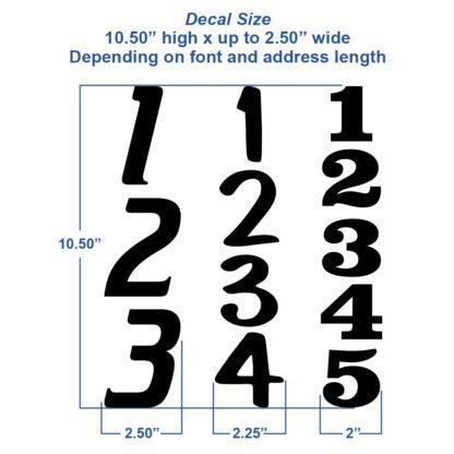 1231 Seward Street Studios Vertical Reflective Address Numbers, showing size variations
