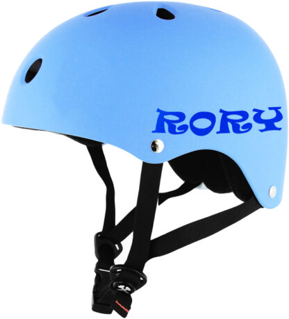 790 Seward Street Studios Custom Reflective Name Vinyl Decal. Shown on a blue helmet