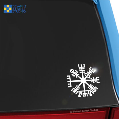 1162 Seward Street Studios Vegvisir Vinyl Decal. Shown on a blue car