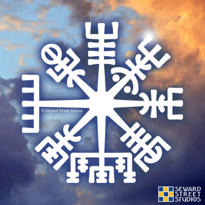 1162 Seward Street Studios Vegvisir Vinyl Decal. Shown on a clouds background