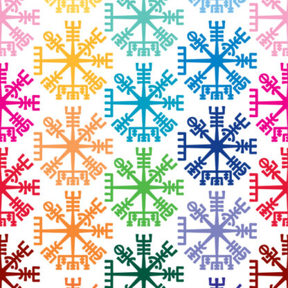 1162 Seward Street Studios Vegvisir Vinyl Decal. Shown in several colors