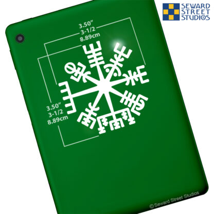1162 Seward Street Studios Vegvisir Vinyl Decal. Shown on a green tablet with dimensions