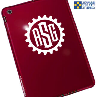 667 Seward Street Studios Steampunk Monogram Vinyl Decal. Shown on a red tablet