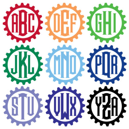 667 Seward Street Studios Steampunk Monogram Vinyl Decal. Showing the alphabet