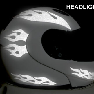 912 Reflective Flame Helmet Decals Set, shown at night under headlights
