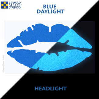 992 Blue Reflective Lips Decal by Seward Street Studios showing both daylight and headlight lighting