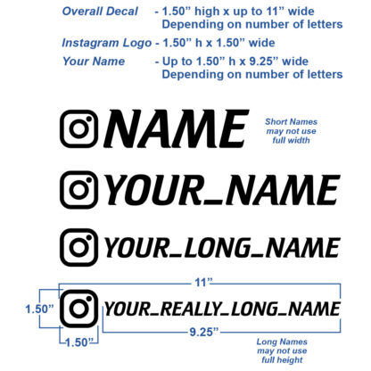 1227 Seward Street Studios instagram name decal showing different sizes