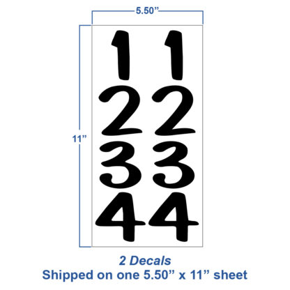 1231 Seward Street Studios Vertical Reflective Address Numbers, showing sheet dimensions