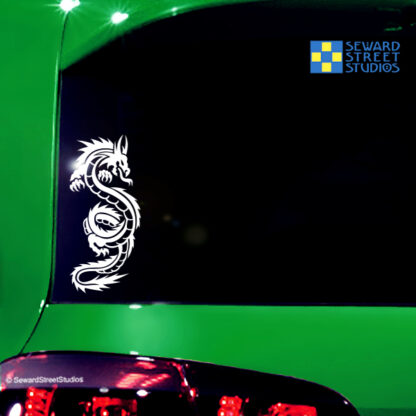 290 Seward Street Studios Tribal Dragon Decal shown on a Green Car