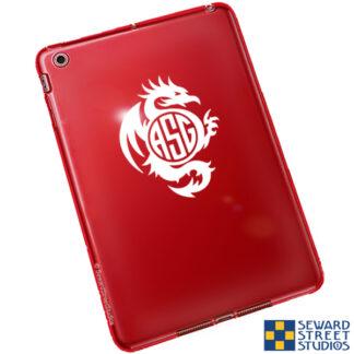 1021 Seward Street Studios Monogram Tribal Dragon Decal shown on a red tablet