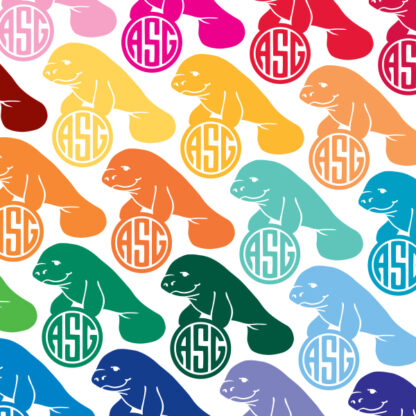 1026 Seward Street Studios Monogram Manatee Decal shown in several colors