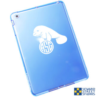 1026 Seward Street Studios Monogram Manatee Decal shown on a blue tablet