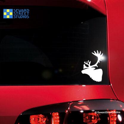 1188 Seward Street Caribou Head Decal shown on a red car