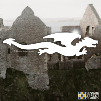 1188 Seward Street Studios Flying Dragon Decal shown on a castle background