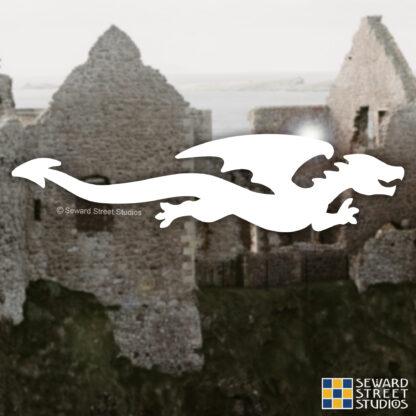 1188 Seward Street Studios Flying Dragon Decal shown on a castle background