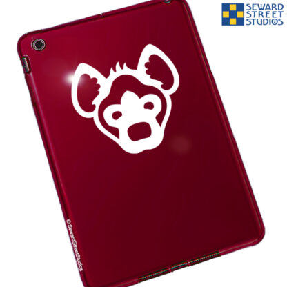 1082 Seward Street Studios Hyena Head Decal shown on a red tablet