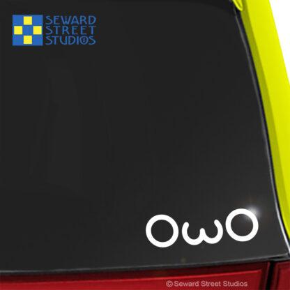 1188 Seward Street Studios OwO Decal shown on a green car
