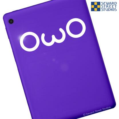 1188 Seward Street Studios OwO Decal shown on a purple tablet