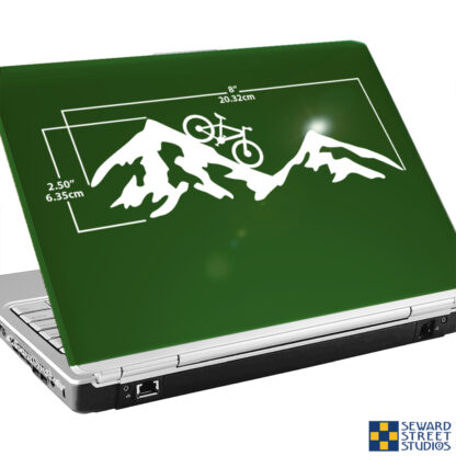 1236 Seward Street Studios Mountain Bike Decal shown on a green laptop with dimensions
