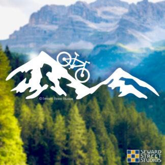 1236 Seward Street Studios Mountain Bike Decal shown on a mountain background