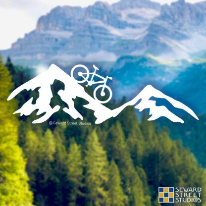 1236 Seward Street Studios Mountain Bike Decal shown on a mountain background