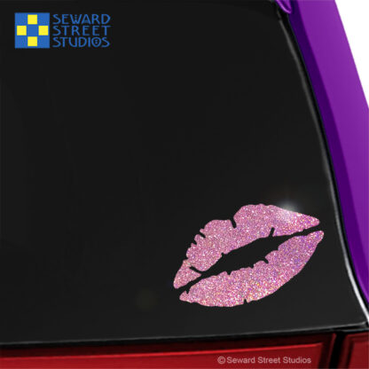 1239 Holographic Glitter Lips Decal by Seward Street Studios shown on a pink car