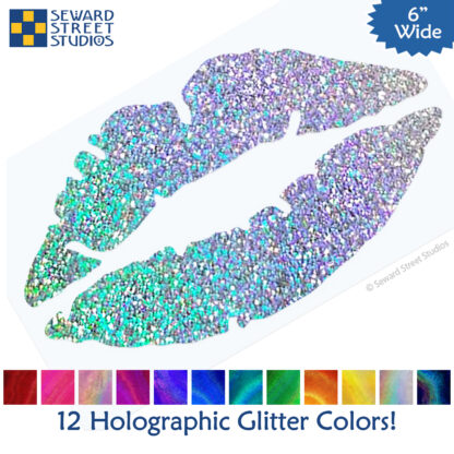 1239 Holographic Glitter Lips Decal by Seward Street Studios shown with 12 glitter vinyl color options
