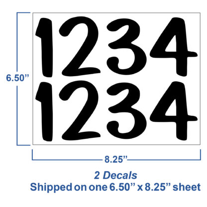 1246 Seward Street Studios Reflective Address Numbers, showing sheet dimensions