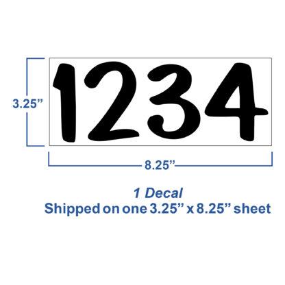 1246 Seward Street Studios Reflective Address Numbers, showing sheet dimensions