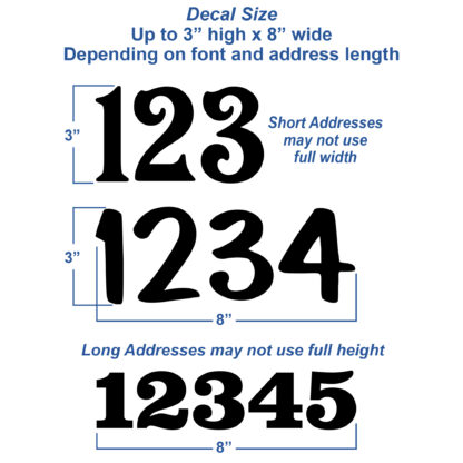 1246 Seward Street Studios Reflective Address Numbers, showing size variations