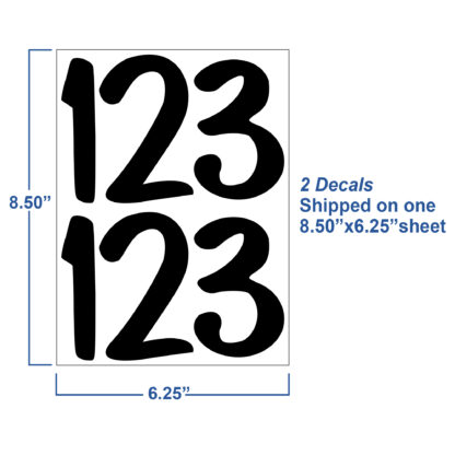 1250 Seward Street Studios Reflective Address Numbers, showing sheet dimensions