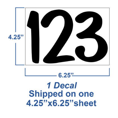 1250 Seward Street Studios Reflective Address Numbers, showing sheet dimensions