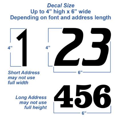1250 Seward Street Studios Reflective Address Numbers, showing size variations
