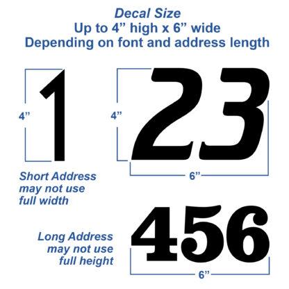 1250 Seward Street Studios Reflective Address Numbers, showing size variations