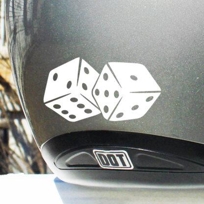 523 Seward Street Studios Pair of Dice Decal shown on a silver helmet