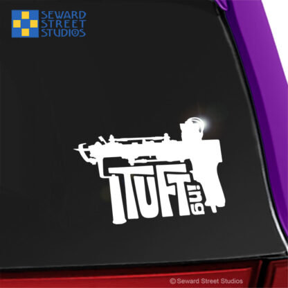 1272 Seward Street Studios Tufting Gun Decal shown on a purple car