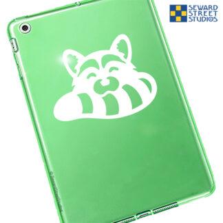 1065 Seward Street Studios raccoon head decal shown on a green tablet