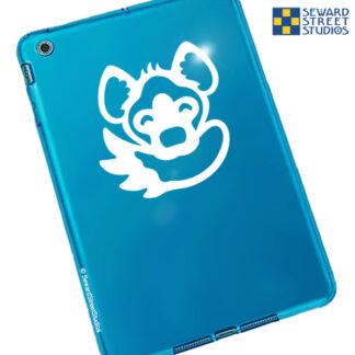 1083 Seward Street Studios hyena biting tail vinyl decal shown on a blue tablet