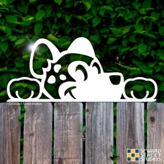 1196 Seward Street Studios Peekaboo spotted hyena vinyl decal shown on a fence background