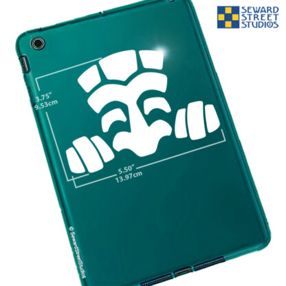1287 Seward Street Studios Peeky Tiki vinyl decal shown on a teal tablet with dimensions