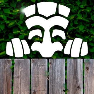 1287 Seward Street Studios Peeky Tiki vinyl decal shown on a fence background