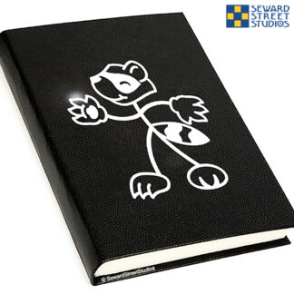 406 Seward Street Studios Stick Family raccoon Vinyl Decal. Shown on a black notebook