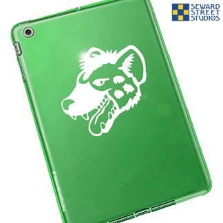 668 seward street studios hyena head decal shown on a green tablet