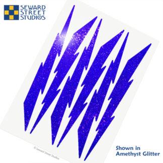 674 Seward Street Studios holographic amethyst glitter lightning decal set