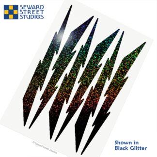 674 Seward Street Studios holographic black glitter lightning decal set