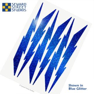 674 Seward Street Studios holographic blue glitter lightning decal set